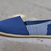 Мужские эспадрильи espadrilles аналог Toms Tunix синие полоса