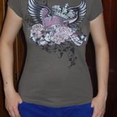 Amisu Стильная футболочка S(40-44 р-р) со стразами
