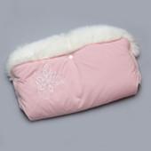 Муфта для коляски розовая с опушкой