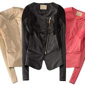 модная женская куртка из экокожи с ажурными вставками