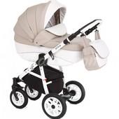 Универсальная коляска 2 в 1 Adamex Jetto 730S (Эко-кожа 50%), белая кожа/бежевый в белую точку