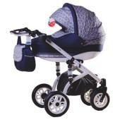 Универсальная коляска 2 в 1 Adamex Jetto 775S (Эко-кожа 50%), белая кожа/фиолетовый в маки