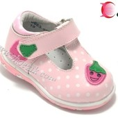Туфли кожаные розовые с клубничкой для девочки р.23,24