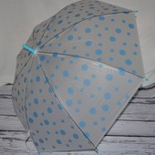Зонтик детский подростковый в горохи полу прозрачный матовый