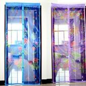 Антимоскитная сетка штора на дверь на магнитах, сетка от комаров и мух 220*90