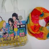 Пляжная сумочка и парео, летний платок