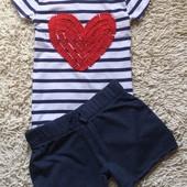 Стильный летний комплект из шорт некст и футболочки на 10 лет