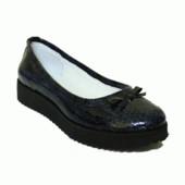 Туфли-балетки на платформе в коже и замше