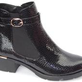 Шикарные ботинки, с лакированной натуральной кожи под рептилию
