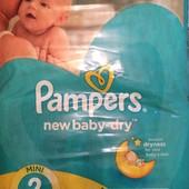 Продам подгузники Рampers new baby dry 2 (66 шт)