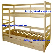 Кровать двухъярусная из натурального дерева.