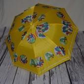 Зонтик зонт трость детский со свистком разные желтый с девочками и динозаврами