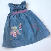 симпатичное джинсовое платье  с зайкой
