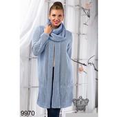 Теплый женский кардиган с шарфом 50/56р.9970
