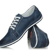 Синие мужские кроссовки из натуральной кожи,Польша