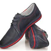 Темно - синие мужские туфли из натуральной кожи , Польша