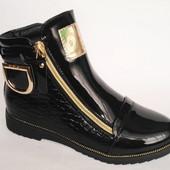 Качественный модные подростковые демисезонные ботинки для девочек, р. 32-37, код 132