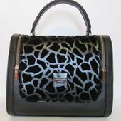 Стильная женская сумка две змейки эко кожа+ эко замша