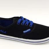 Мокасины черные с синим Т430 р.36-41
