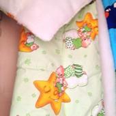 Детское меховое одеяло и подушка в кроватку