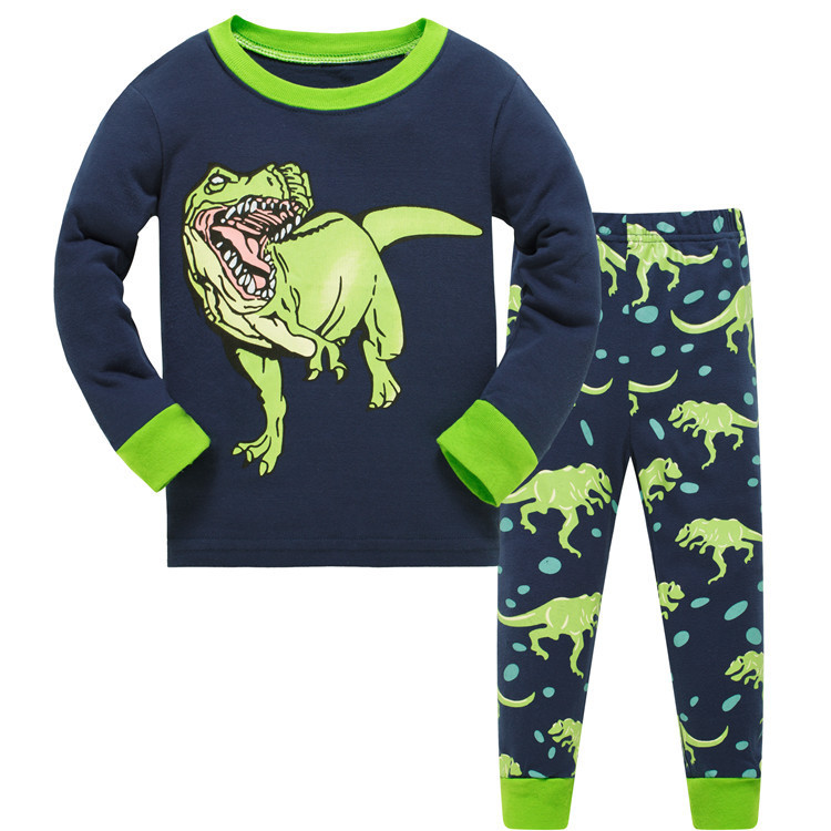 Пижама для мальчика, синяя. динозавр. фото №1