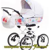 Adamex Katrina  стильная кожанная детская коляска Эксклюзив
