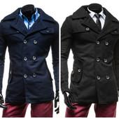 Полупальто зимние мужское два цвета синие и черние