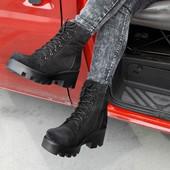 Стильные ботинки на тракторной подошве. Кожа,замш