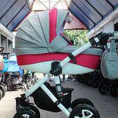 Универсальная коляска 2 в 1 Adamex Barletta PIK14, серый лен/красный стеганная строчка