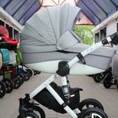 Универсальная коляска 2 в 1 Adamex Barletta PIK18, серебристый лен/серая стеганная строчка