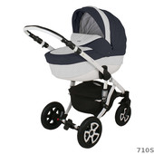 Универсальная коляска 2 в 1 Adamex Barletta Ecco кожа 710S, темно-синий с белым