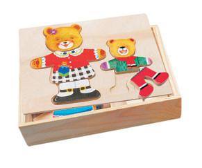 Деревянные пазлы сортер гардероб bino фото №1