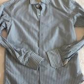 Серо-синяя рубашка в белую полоску (м)