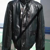 Куртка кожаная , цвет черный с серым