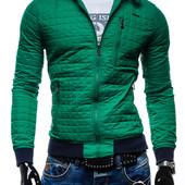 куртка стеганая мужская зеленого цвета