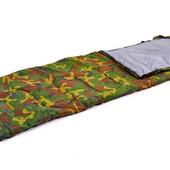 Спальный мешок одеяло с капюшоном 066 (спальник камуфляж): 190+30х75см, от +15 до 0