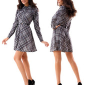Женское платье рубашка клетка