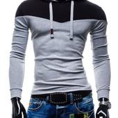 Стильная толстовка - худи с капюшоном серая с черным. Производства Украина