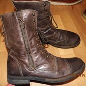брендовые кожаные ботинки 42 Zara Man