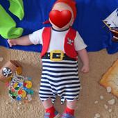 Карнавальный костюм Пират песочник, бандана, пинетки 0-3мес
