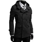 Стильное кашемировое пальто - тренч с капюшоном черный. Производства Украина