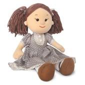 Мягкая игрушка- Кукла Карина в коричневом платье в горошек(муз. 24 см)