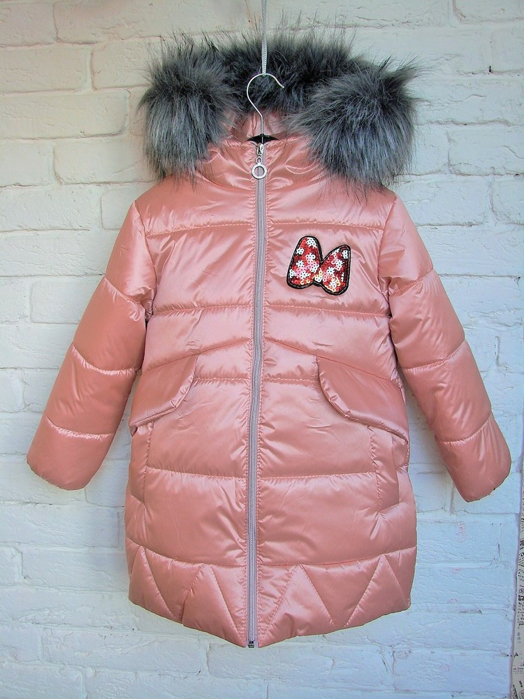 Зимняя парка куртка металлик со съёмной овчинкой 110, 116, 122, 128 размеры фото №1