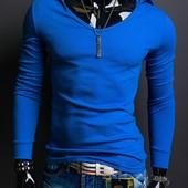 Стильная эластичная футболка с длинным рукавом и капюшоном Blue. Производства Украина