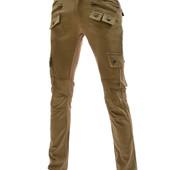 Стильные зауженные дизайнерские брюки Коричневые. Производства Украина