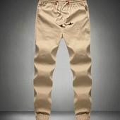 Удобные брюки из хлопкового материала Бежевые. Производства Украина