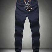 Удобные брюки из хлопкового материала Синие. Производства Украина