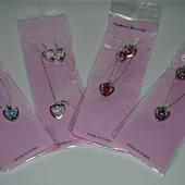 Наборы для девочек,серёжки+кулон-1 набор,цвет выбирает победитель на выбор!