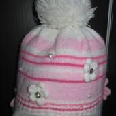 Зимняя шапка на девочку на годик