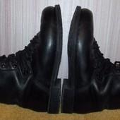Мужские  черные кожаные ботинки-берцы - 42 размер,28 см стелька